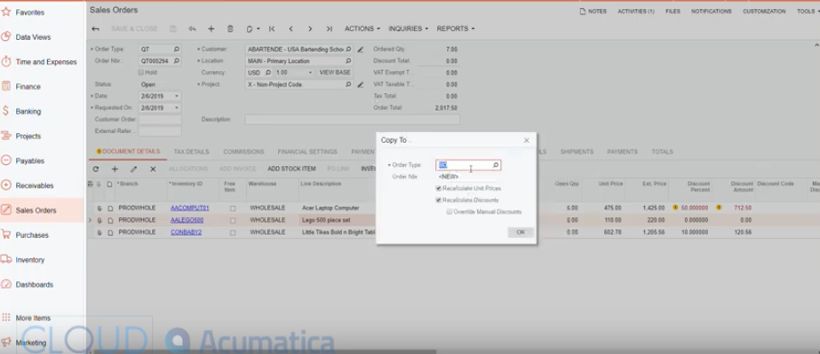 Acumatica-Convert-Quote-to-Order